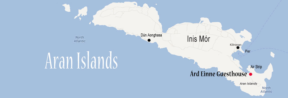 map of the aran islands with location of ard einne guesthouse location